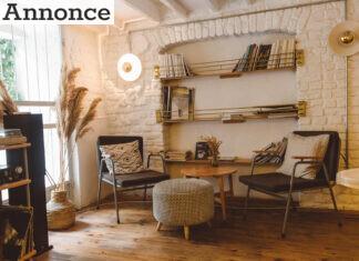 Stue med bøger på hylder, på vægen